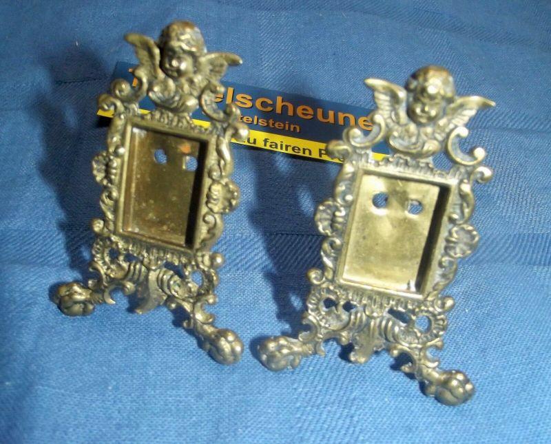 2 Antike Engel Miniatur Bilderrahmen Stand Rahmen Messing Antiquität 1