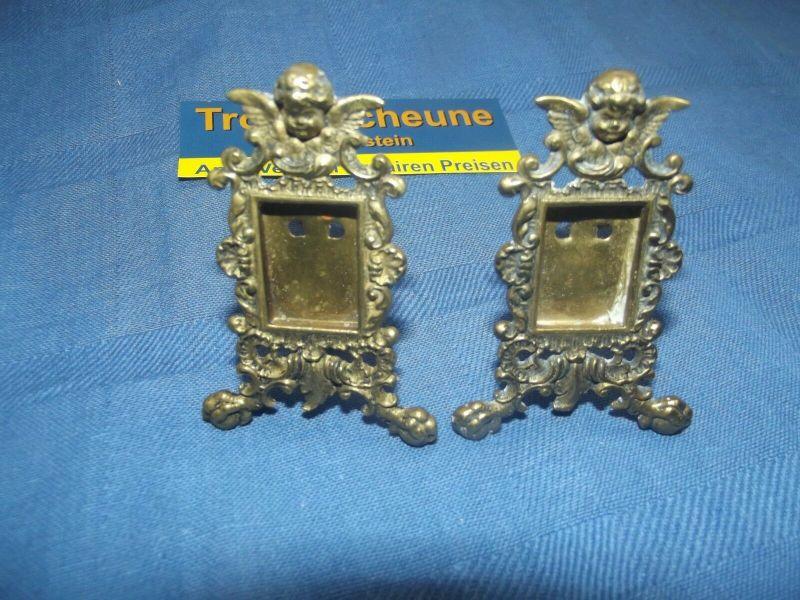 2 Antike Engel Miniatur Bilderrahmen Stand Rahmen Messing Antiquität 2