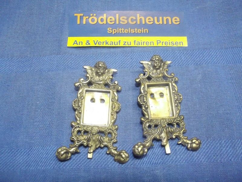 2 Antike Engel Miniatur Bilderrahmen Stand Rahmen Messing Antiquität 3