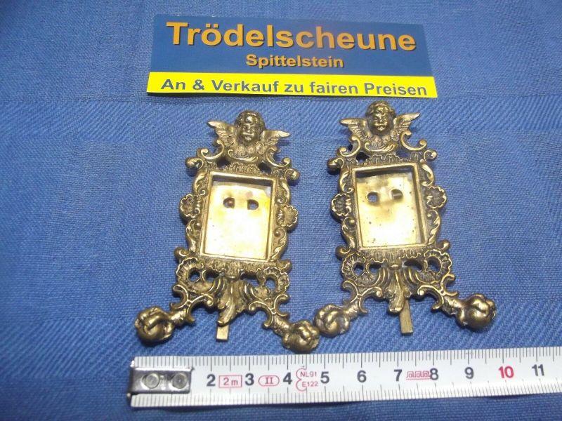 2 Antike Engel Miniatur Bilderrahmen Stand Rahmen Messing Antiquität 5