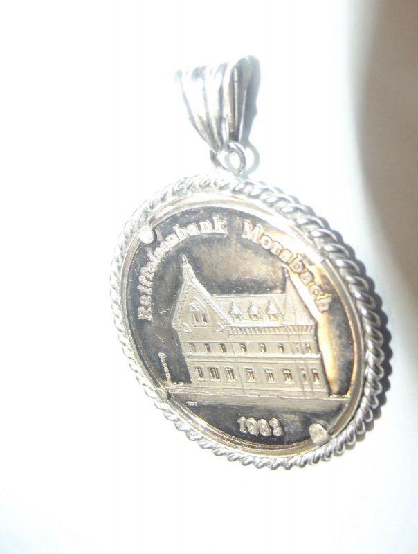 Silber Ketten Anhänger Medaille Morsbach um 1890 Raiffeisenbank 1983