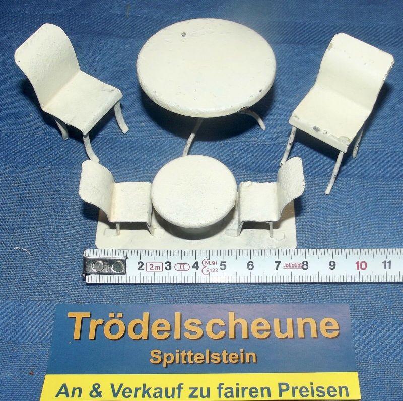 Blech Puppenstuben Terrassen-Garnitur Gartenmöbel Lackiert