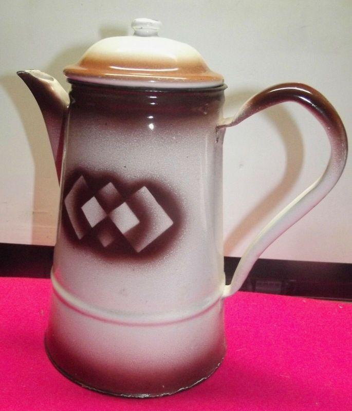 Antike Emaille Kaffeekanne Spritz Dekor Art Deco