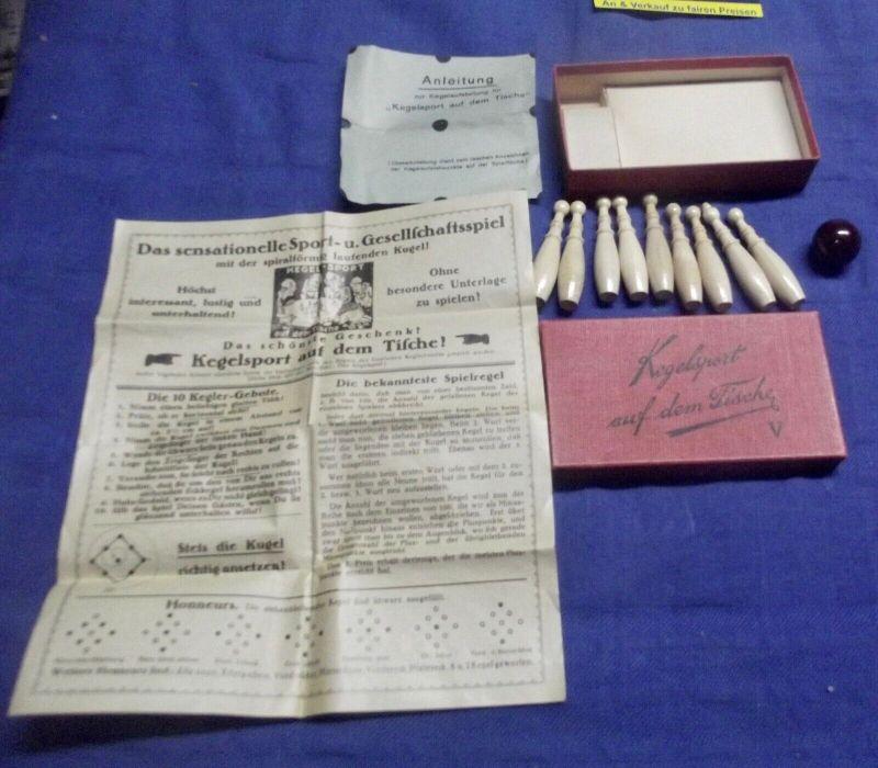 Kegelspiel Kegelsport auf dem Tische Reisespiel Gesellschaftsspiel 30er Jahre