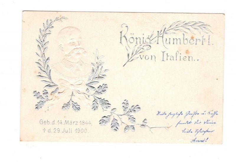 AK König Humbert I. von Italien Umberto I. Prägedruck 1910