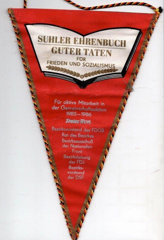 DDR Wimpel Suhl Ehrenbuch Guter Taten FDGB Freies Wort XI.Parteitag