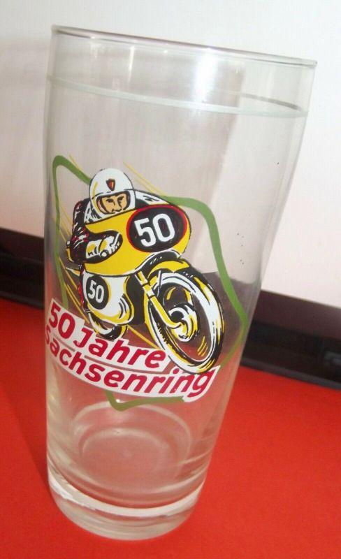 DDR Andenken Bierglas 50 Jahre Sachsenring Motorsport Motorrad Rennen 0