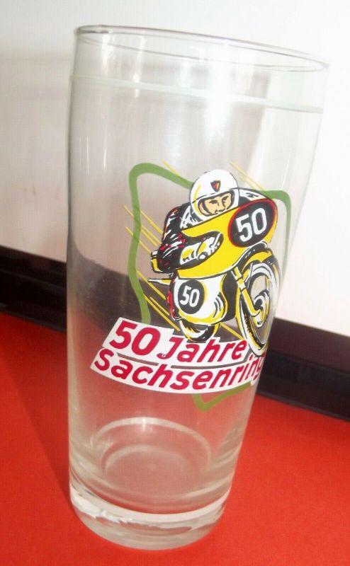 DDR Andenken Bierglas 50 Jahre Sachsenring Motorsport Motorrad Rennen 1