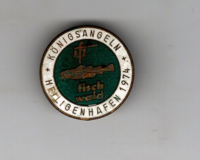 Alte Anstecknadel Angelverein Angelsport Königs Angeln Heiligenhafen 1974