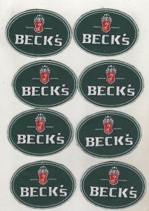 Konvolut 8 x Original Firmen Aufnäher Patch Brauerei Becks Bremen