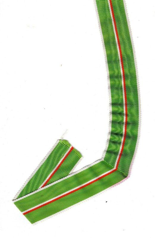 Ordensband Grün - Weiss - Rot Streifen 1 m x 2,5 cm