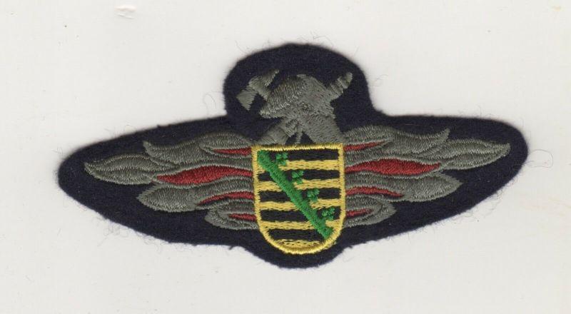Uniform Aufnäher Patches Brustabzeichen Feuerwehr Sachsen Schwarz / Silber