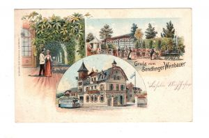 AK München Sendling Gasthaus Sendlinger Weinbauer Lithographie 1900