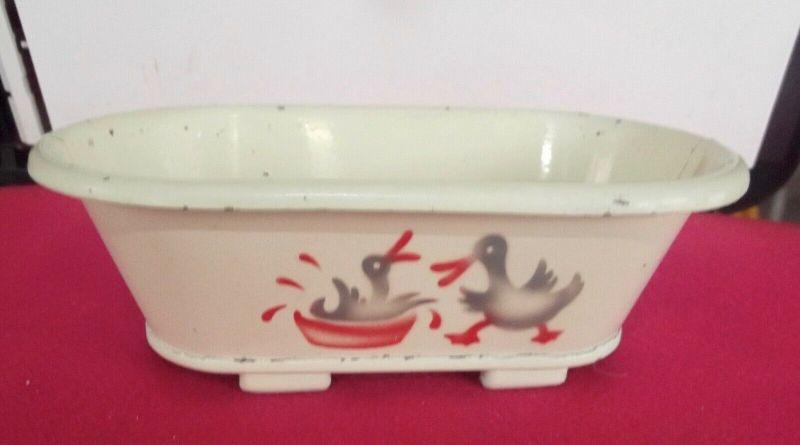 Blech Badewanne für die Puppenstube Planschende Enten Spritzdekor