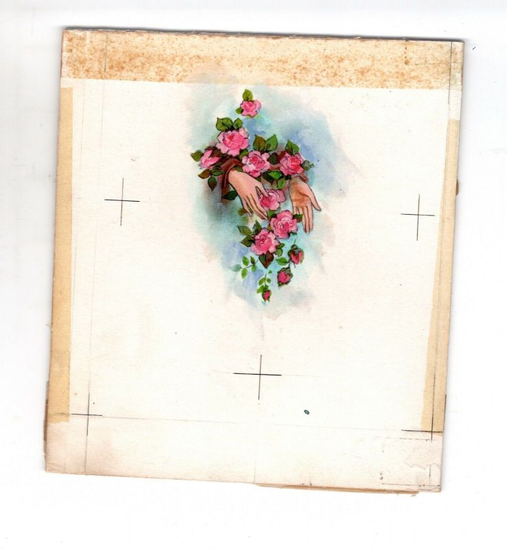 Goebel Aquarell Arbeitsmuster Janet Kennedy USA Mother´s Hands Roses Weihnachten