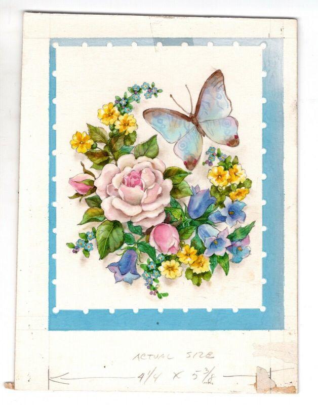 Goebel Aquarell Arbeitsmuster Artist Janet Kennedy USA Flowers Butterfly