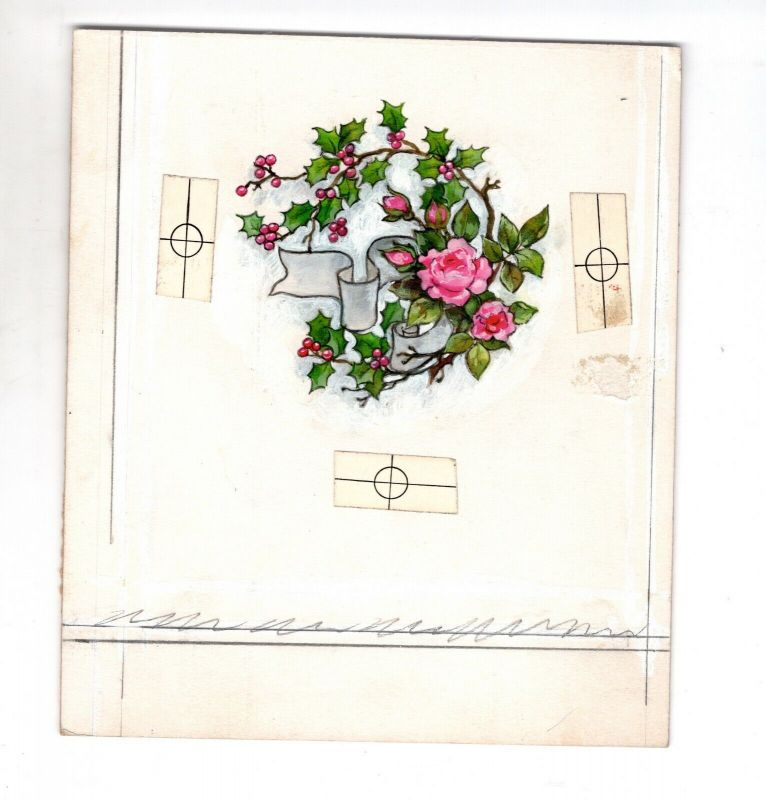 Goebel Aquarell Arbeitsmuster Janet Kennedy USA Roses Holly Weihnachten
