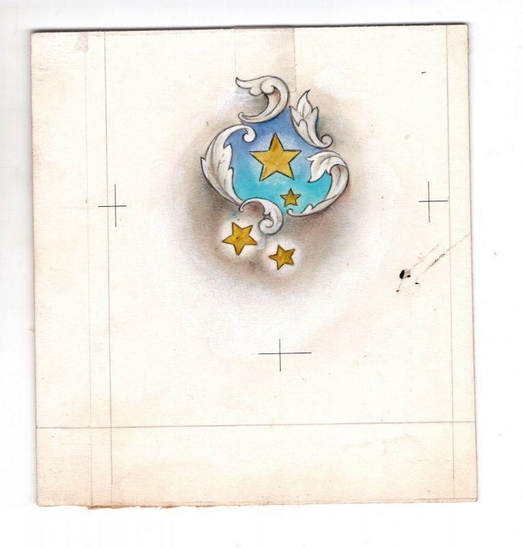 Goebel Aquarell Arbeitsmuster Janet Kennedy USA Golden Stars Weihnachten