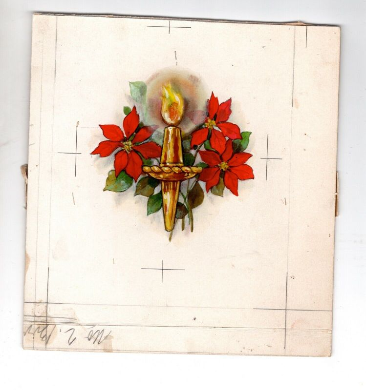 Goebel Aquarell Arbeitsmuster Janet Kennedy 1951 USA Candles Weihnachten