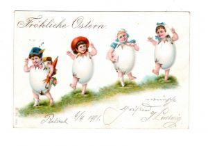 AK Fröhliche Ostern Osterei Kinder Lithographie 1901