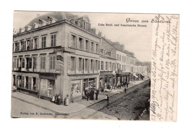 AK Saarland Saarlouis Ecke Bock und französische Strasse Geschäfte Eckhaus 1903