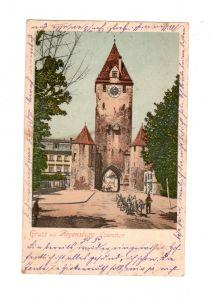 AK Oberpfalz Regensburg Ostentor Lithographie Fuhrwerk 1912