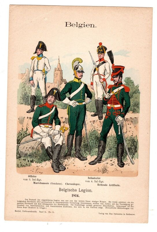 Grafik Knötel Uniformkunde Belgien 1814 Belgische Legion 0