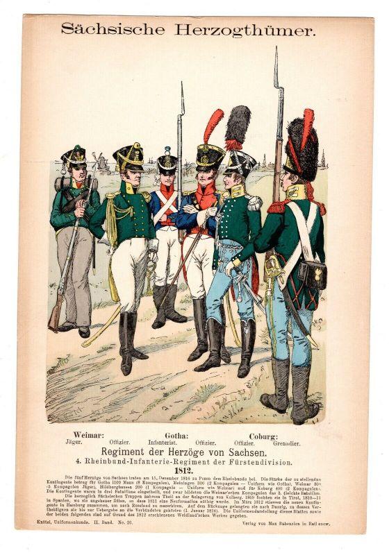 Grafik Knötel Uniformkunde Sächsische Herzogtümer Rheinbund Infanterie Regiment
