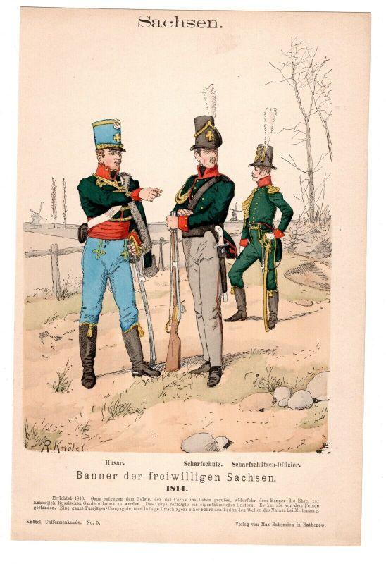 Grafik Knötel Uniformkunde Banner der freiwilligen Sachsen Husar - Scharfschütz