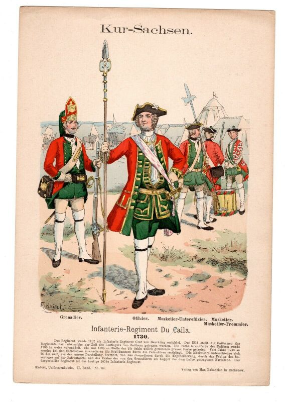 Grafik Knötel Uniformkunde Kur Sachsen Infanterie Regiment Du Caila 1730