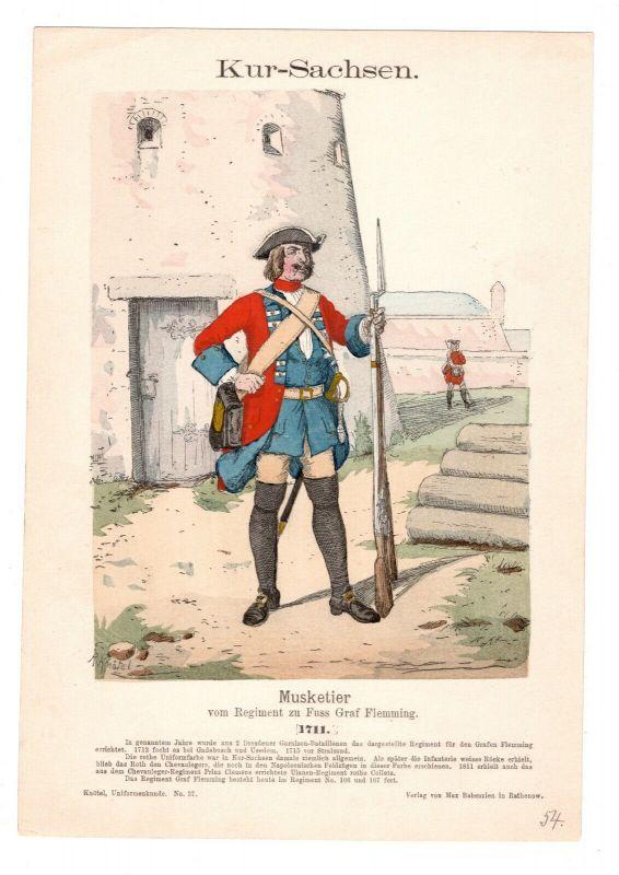 Grafik Knötel Uniformkunde Kur Sachsen Musketier Regiment Graf Flemming 1711