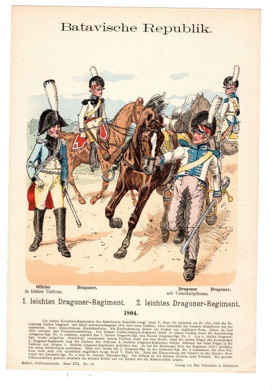 Grafik Knötel Uniformkunde Batavische Republik Niederlande Dragoner Regiment