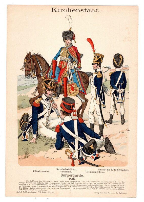 Grafik Knötel Uniformkunde Kirchenstaat ( Vatikan ) Bürgergarde 1816