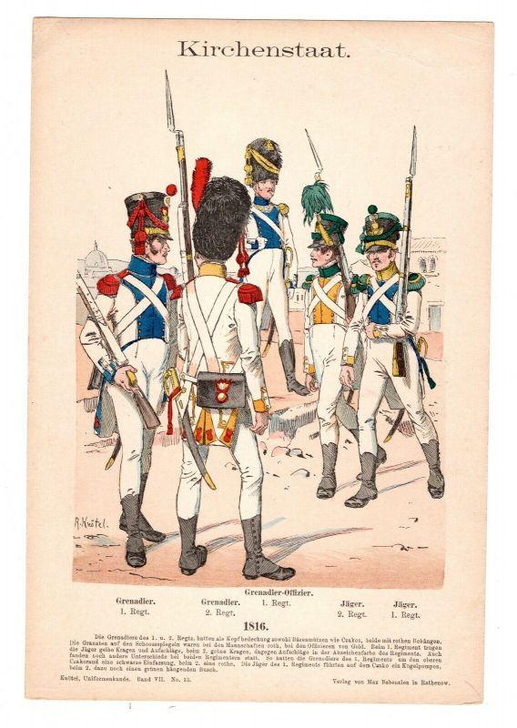 Grafik Knötel Uniformkunde Kirchenstaat Grenadier Offizier 1816