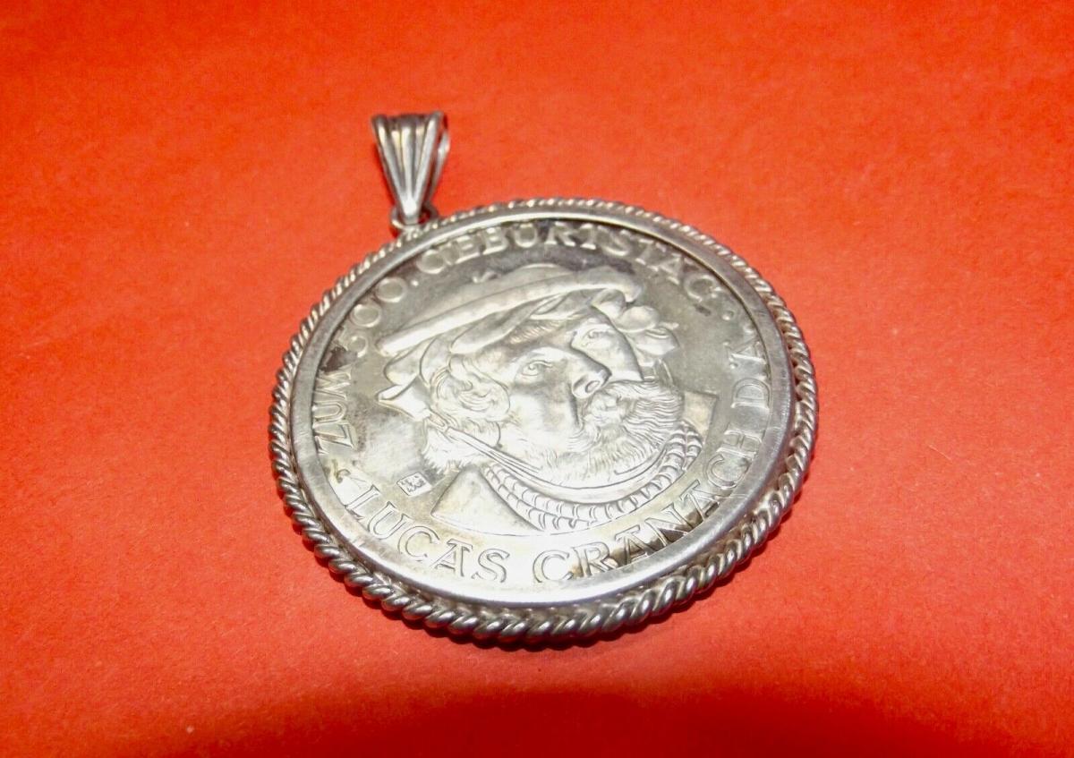 Silber Medaille gefasst 100 Jahre Lucas Cranach 1872 - 1972 Kronach Anhänger