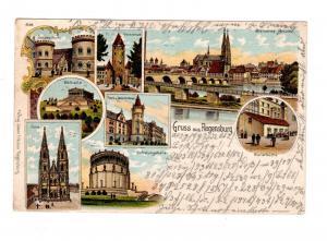 AK Oberpfalz Regensburg Lithographie 1903 Gasthaus Wurstküche Ansichten