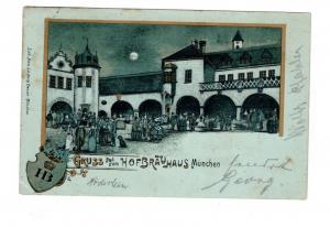 AK Oberbayern München Mondscheinkarte Hofbräuhaus Biergarten Lithographie