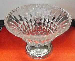 Kristall Schale Drei Punzen 800er Silber Fuss