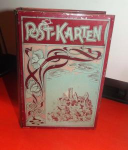 Aufbewahrung Postkarten Jugendstil Blechdose Schatulle als Buch