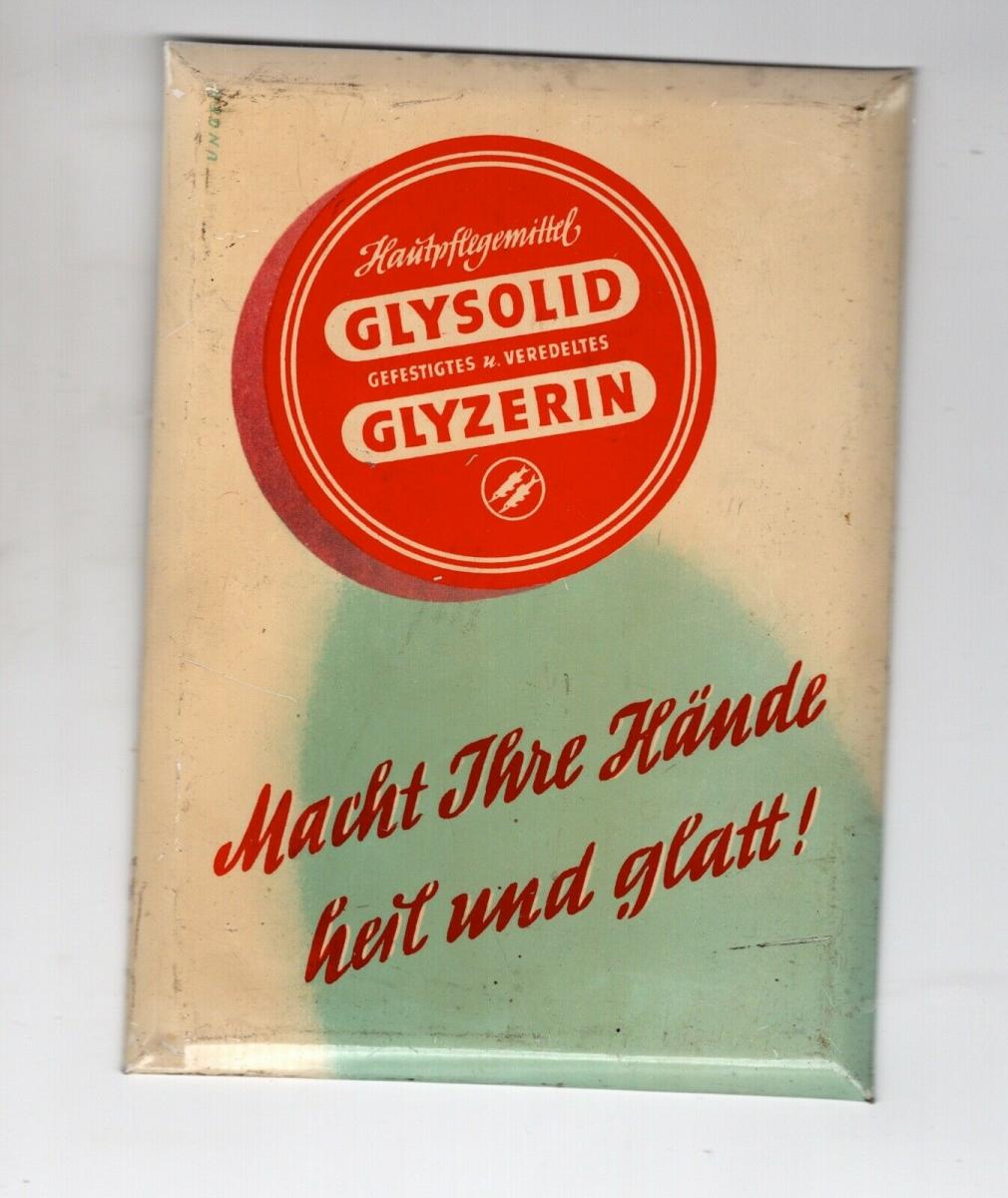 Alter kleiner Blech Reklame Theken Aufsteller Drogerie Glysolid Hautpflegemittel 0
