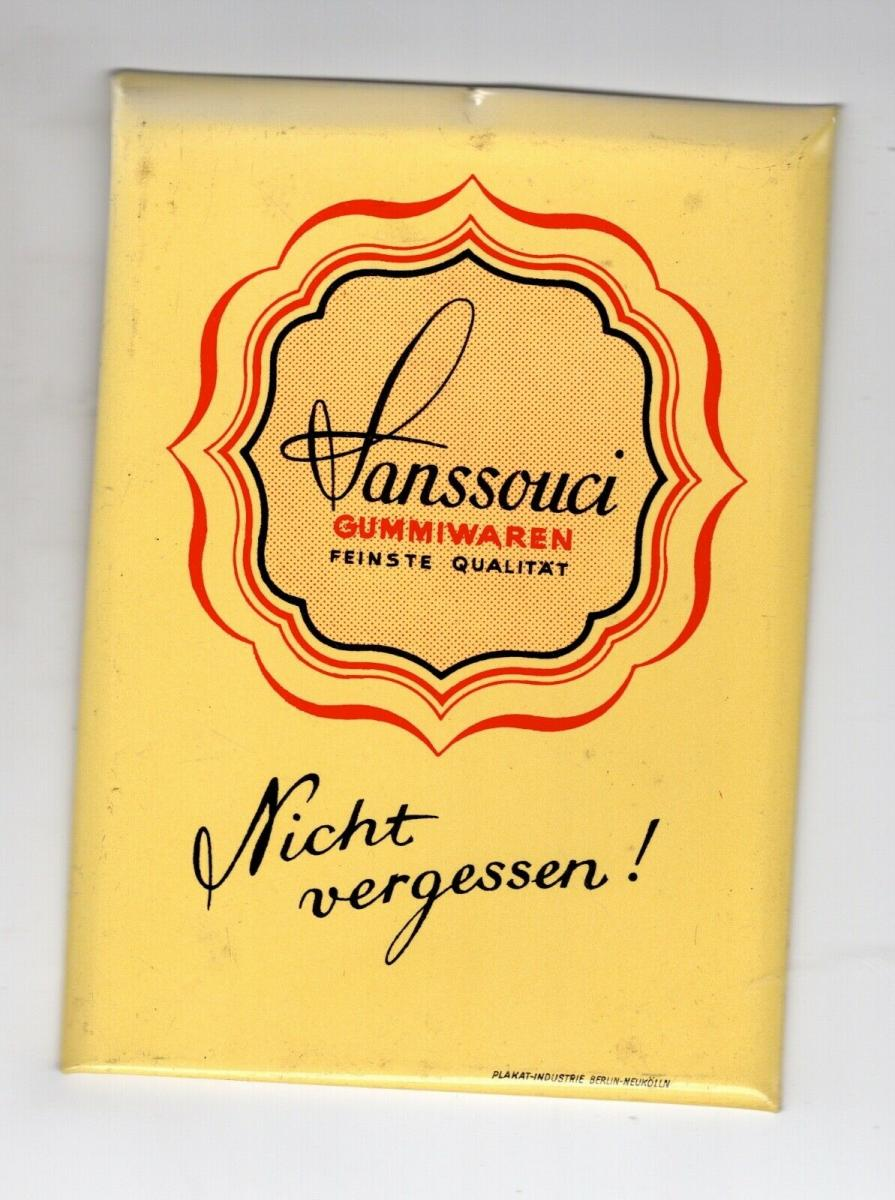 Alter kleiner Blech Reklame Theken Aufsteller Drogerie Sanssouci Gummiwaren 0
