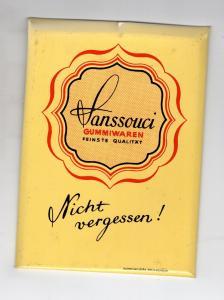 Alter kleiner Blech Reklame Theken Aufsteller Drogerie Sanssouci Gummiwaren