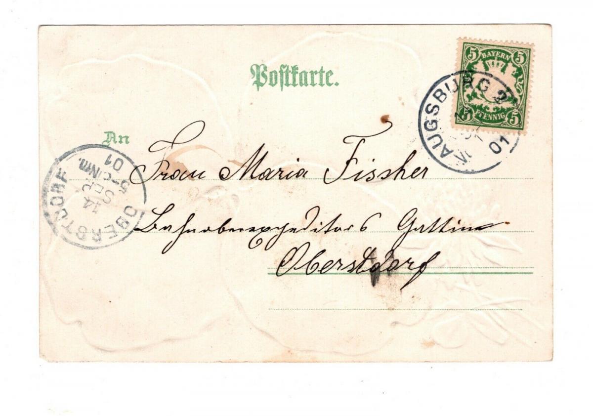 AK Schwaben Augsburg Prägedruck Kleeblatt Lithiographie 1901 1