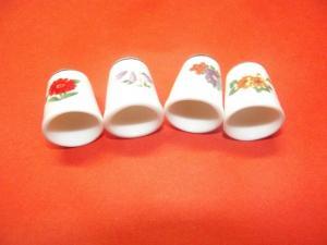 4 Porzellan Fingerhüte Fingerhut Blumen