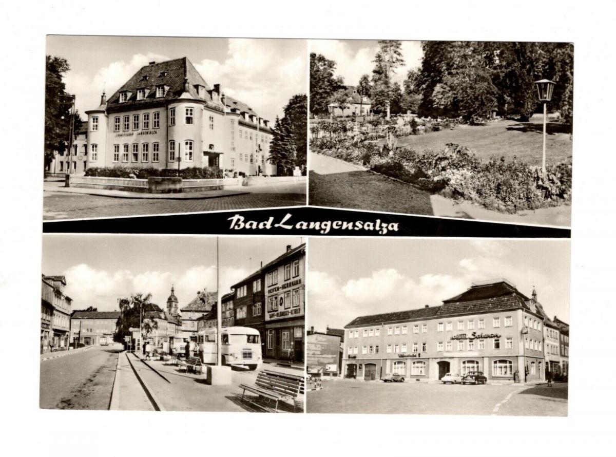 AK Thüringen Bad Langensalza - Hotel - Reifen Herrmann - Schwefelbad DDR Karte 0
