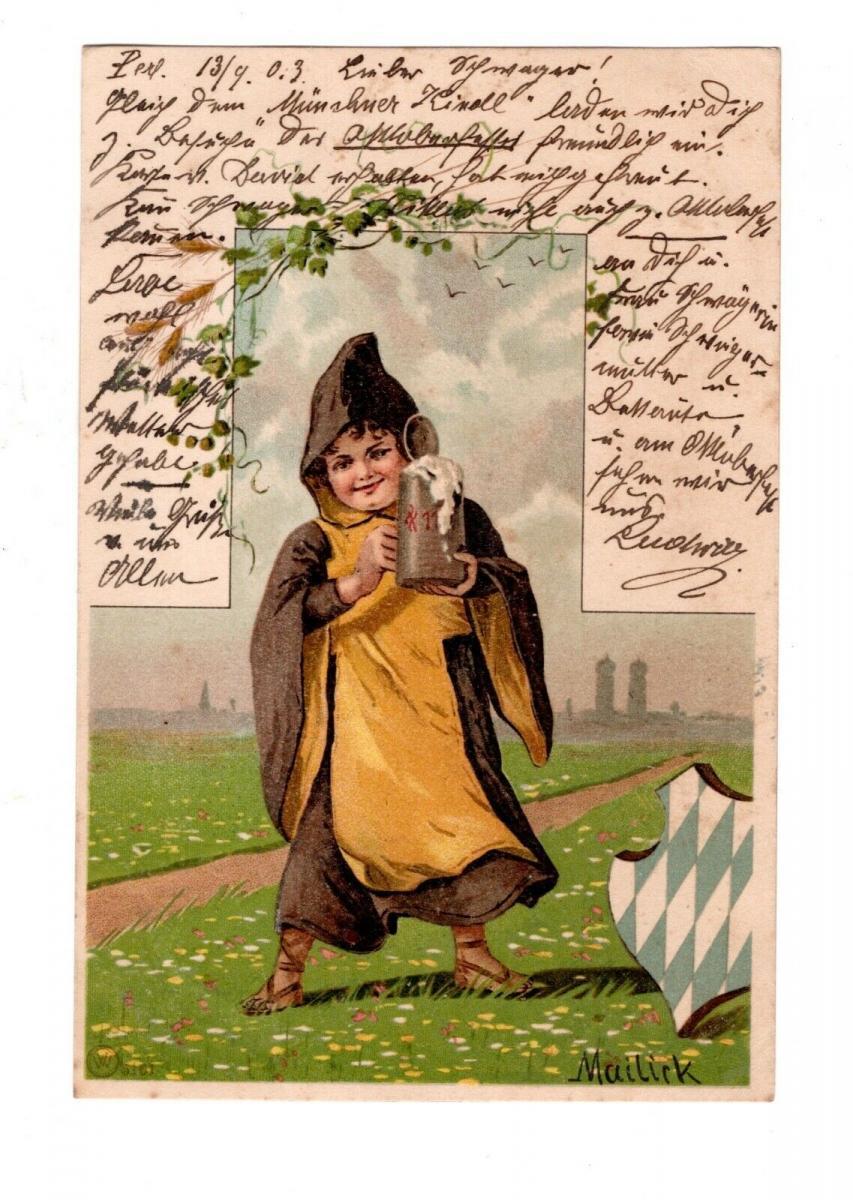 AK Gruss vom Oktoberfest München 1903 Lithographie Münchner Kindl 0
