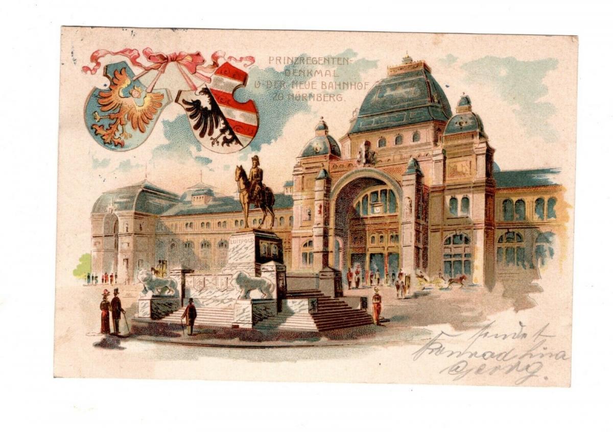 AK Nürnberg Prinzregenten Denkmal und neuer Hauptbahnhof 1901 Lithographie 0