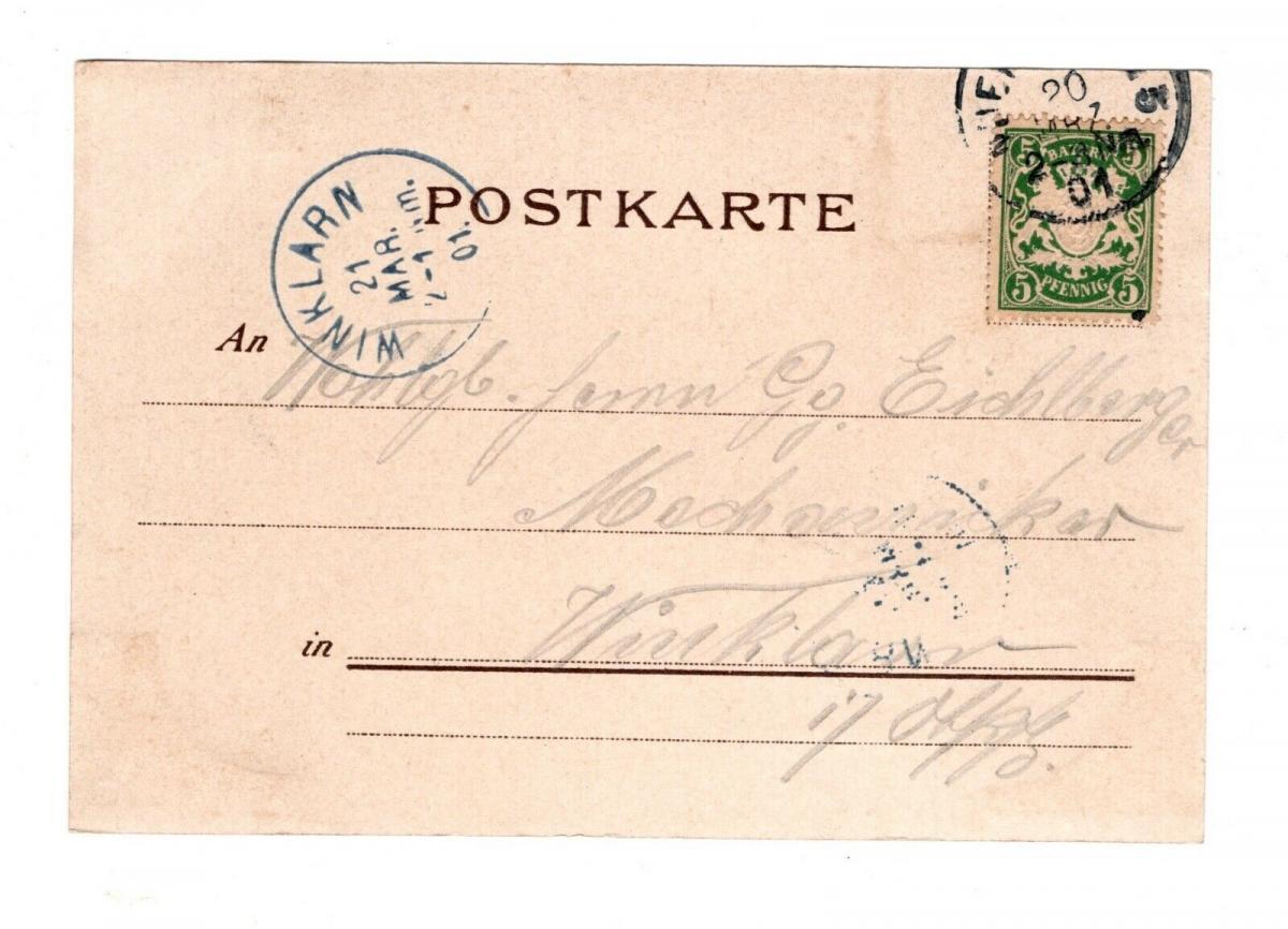 AK Nürnberg Prinzregenten Denkmal und neuer Hauptbahnhof 1901 Lithographie 1