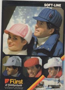 Alter Reklame Papp Aufsteller Fürst of Switzerland Winter Mode Mütze 70er Jahre