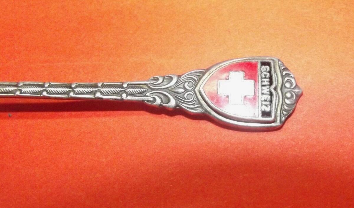 Andenken Löffel Silber 800er Emailliert Schweiz 1